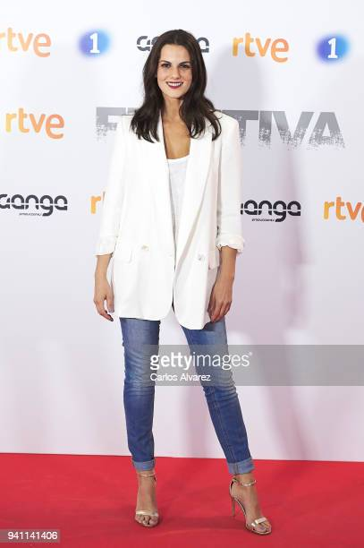 Actress Melina Matthews attends 'Fugitiva' Tv Series at the Callao cinema on April 2 2018 in Madrid Spain