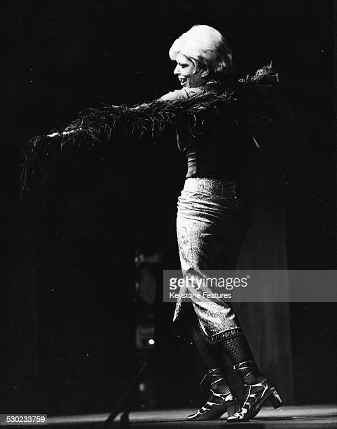 Actress Melina Mercouri performing on stage to celebrate the 50th anniversary of the Bertolt Brecht's works Athens circa 1972