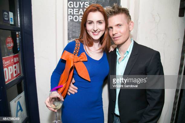 Actress Melinda Hughes and director Hunter Lee Hughes attend the Guys Reading Poems fundraiser at V Wine Bar on April 11 2014 in West Hollywood...