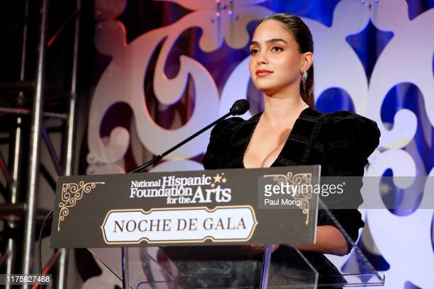 Actress Melissa Barrera speaks after being honored at the National Hispanic Foundation for the Arts' 23rd Annual Noche de Gala on September 18 2019...