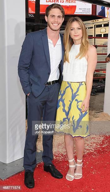 Actress Melissa Benoist and Blake Jenner arrive at the Los Angeles Premiere 'The Longest Ride' at TCL Chinese Theatre IMAX on April 6 2015 in...