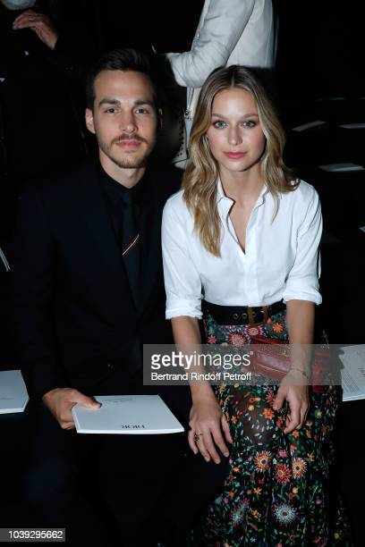 Actress Melissa Benoist and Chris Wood attend the Christian Dior show as part of the Paris Fashion Week Womenswear Spring/Summer 2019 on September 24...