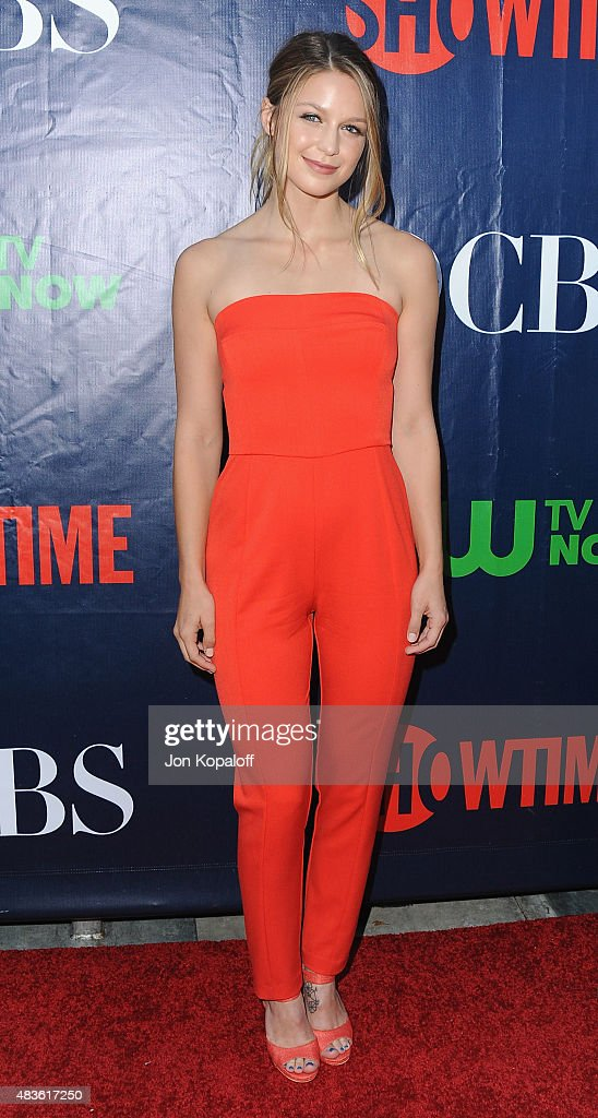 Actress Melissa Benoist arrives at CBS, CW And Showtime 2015 Summer TCA Party at Pacific Design Center on August 10, 2015 in West Hollywood, California.