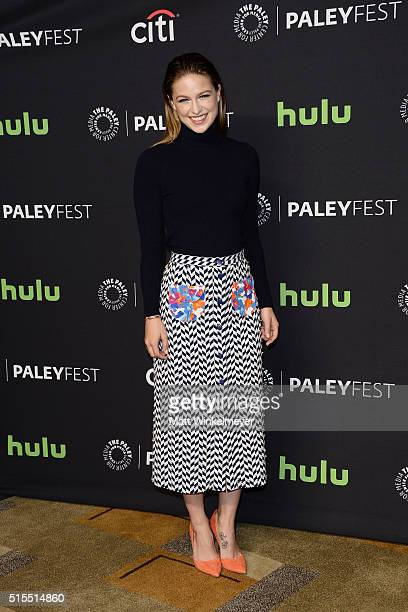 Actress Melissa Benoist arrives at The Paley Center For Media's 33rd Annual PALEYFEST Los Angeles ÒSupergirl' at Dolby Theatre on March 13 2016 in...
