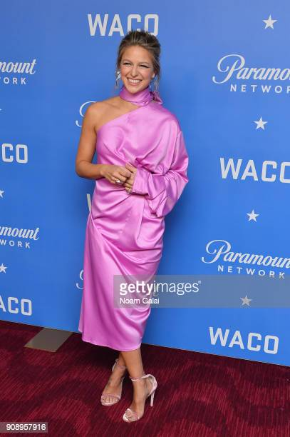 Actress Melissa Benoist attends the world premiere of WACO presented by Paramount Network at Jazz at Lincoln Center on January 22 2018 in New York...