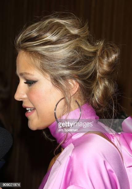 Actress Melissa Benoist hair detail attends the 'Waco' world premiere at Jazz at Lincoln Center on January 22 2018 in New York City