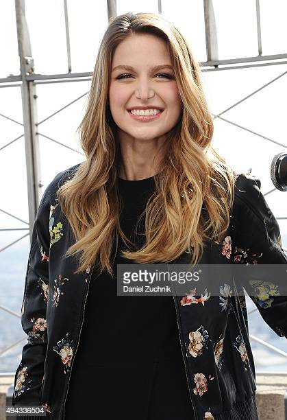 Actress Melissa Benoist lead actress of the new show 'Supergirl' visits the Empire State Building on October 26 2015 in New York City