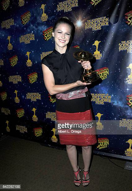 Actress Melissa Benoist poses in the pressroom at the 42nd annual Saturn Awards at The Castaway on June 22 2016 in Burbank California