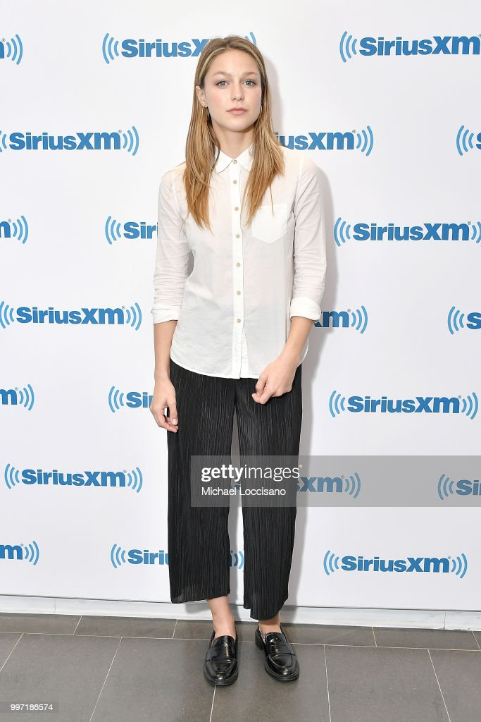 Actress Melissa Benoist visits SiriusXM Studios on July 12, 2018 in New York City.