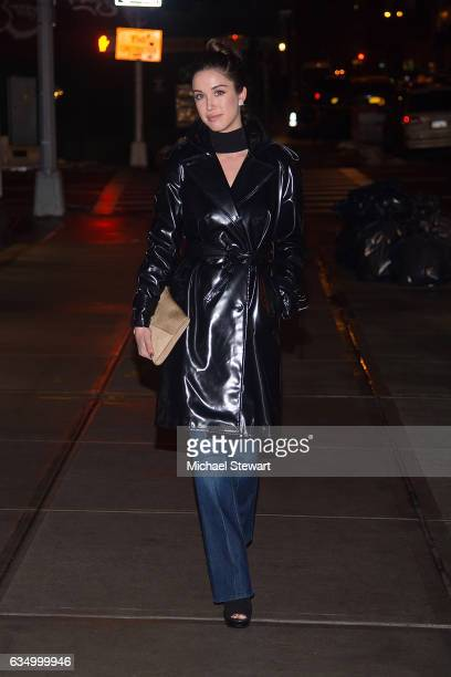 Actress Melissa Bolona is seen wearing a Wanda Innylon jacket Seven jeans Prada boots and JW Anderson clutch in NoHo on February 12 2017 in New York...
