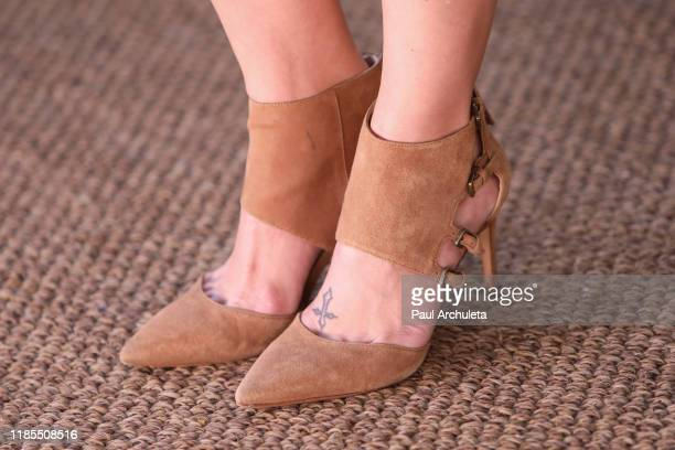 Actress Melissa Claire Egan shoe detail visits Hallmark Channel's Home Family at Universal Studios Hollywood on November 04 2019 in Universal City...
