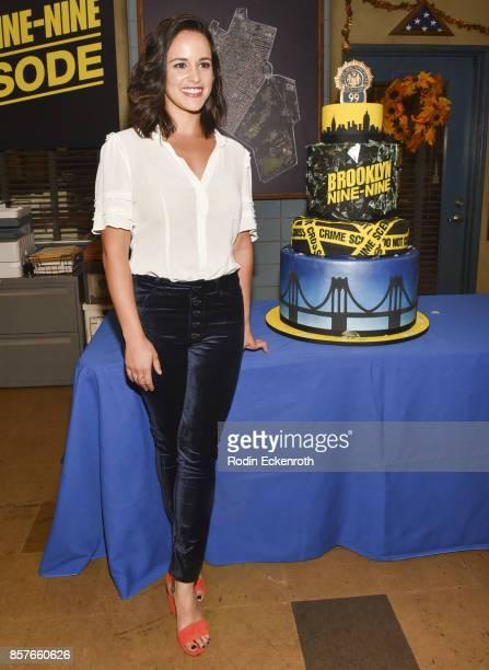 Actress Melissa Fumero poses for portrait as Fox's 'Brooklyn NineNine' celebrates their 99th episode at CBS Studio Center on October 4 2017 in Studio...