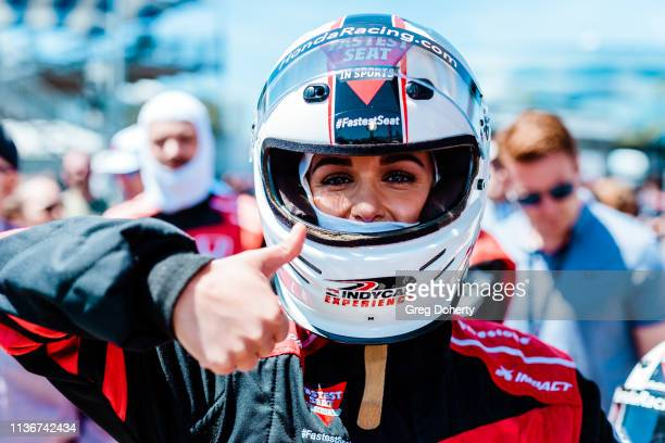 Actress Melissa Fumero rides in the Honda 'Fastest Seat in Sports' with Racing Legend Mario Andretti at the 2019 Acura Grand Prix Of Long Beach on...