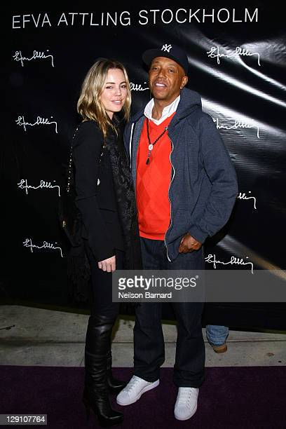 Actress Melissa George and business magnate Russell Simmons attend the US Efva Attling store launch party on October 12 2011 in New York City