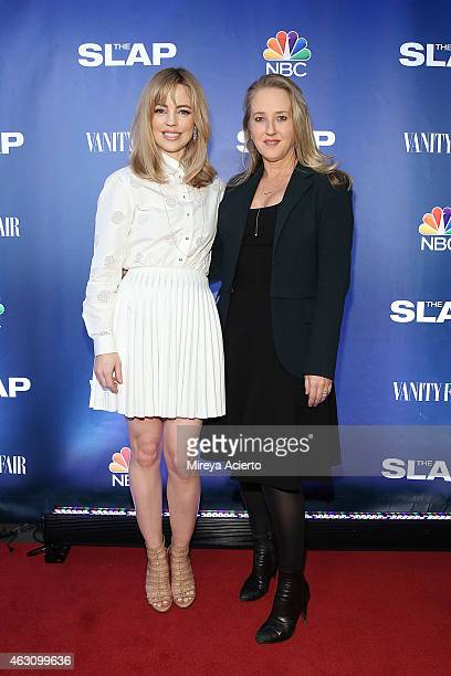Actress Melissa George and NBC Entertainment president Jennifer Salke attend The Slap New York Premiere Party at The New Museum on February 9 2015 in...