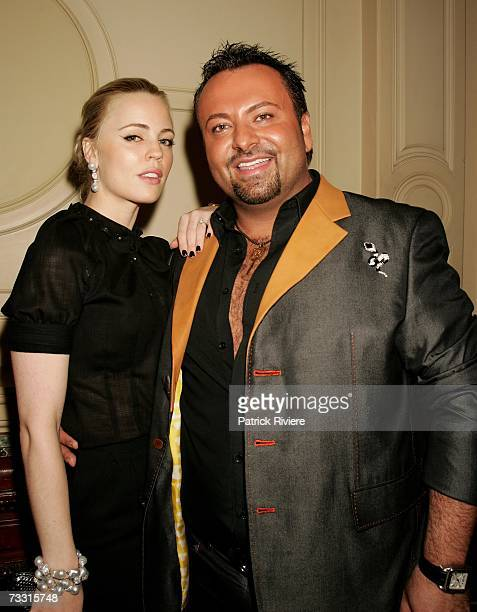 Actress Melissa George , make-up artist Napoleon Perdis arrive at the David Jones Autumn/Winter Collection launch show at Town Hall on February 13,...