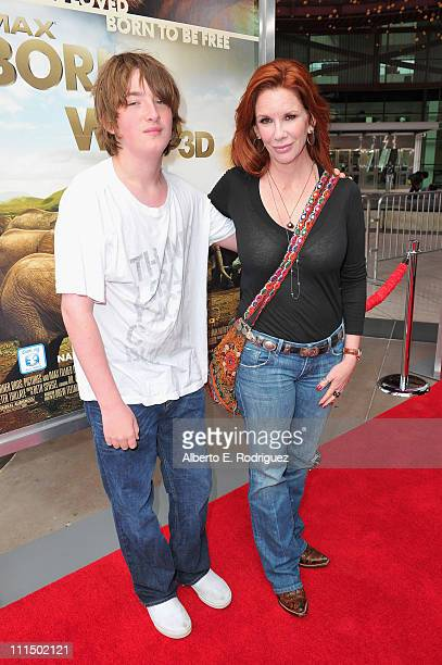 Actress Melissa Gilbbert and son Michael Boxleitner arrive to the premiere of Warner Bros Pictures' Born To Be Wild 3D at the California Science...