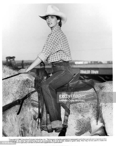 Actress Melissa Gilbert rides a horse in a scene from the movie Sylvester circa 1985