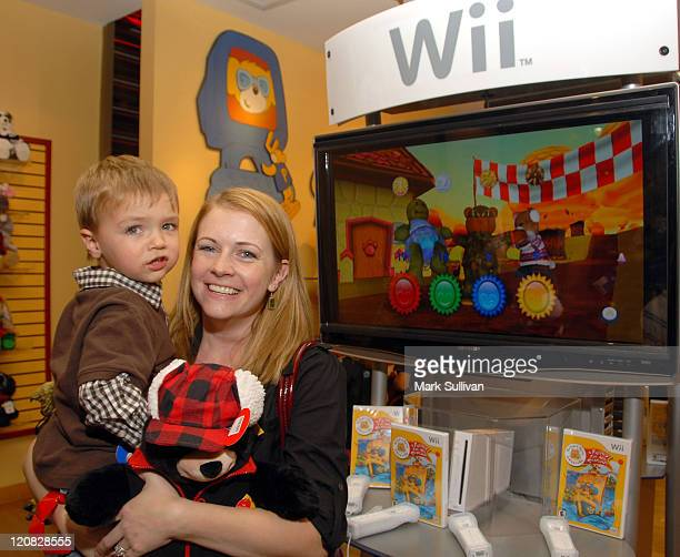 Actress Melissa Joan Hart and son Mason Wilkerson attend the BuildABear Wii launch party at the BuildABear workshop on November 11 2008 in Hollywood...