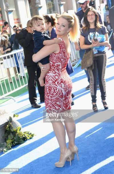 Actress Melissa Joan Hart and son Tucker Joan Hart attend the premiere of Disney Pixar's Monsters University at the El Capitan Theatre on June 17...