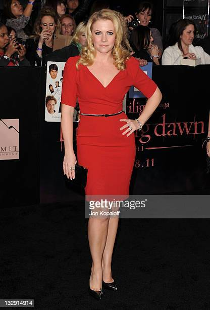 Actress Melissa Joan Hart arrives at the Los Angeles Premiere The Twilight Saga Breaking Dawn Part 1 at Nokia Theatre LA Live on November 14 2011 in...