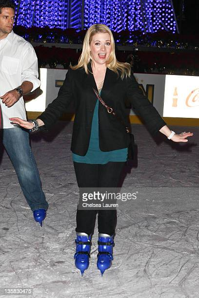 Actress Melissa Joan Hart attends AEG Season of Giving and Disney on Ice skating party at Nokia Plaza LA LIVE on December 14 2011 in Los Angeles...