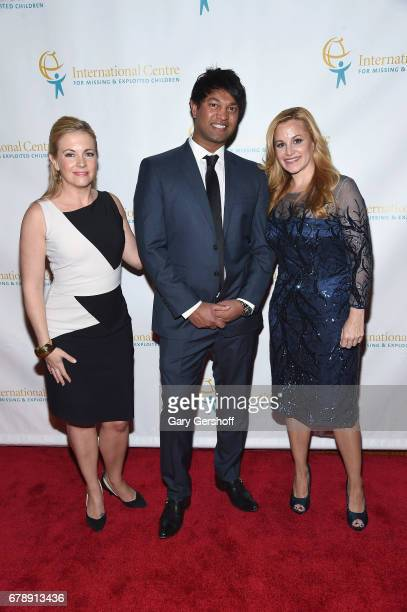 Actress Melissa Joan Hart author Saroo Brierley and Director of Trust and Safety at Facebook Emily Vacher attend the International Centre for Missing...