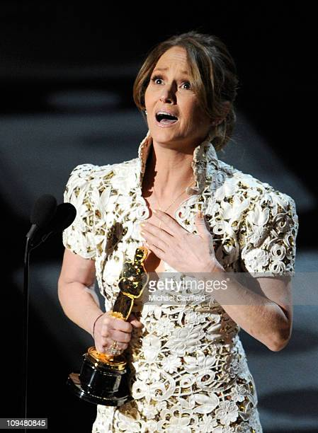 Actress Melissa Leo accepts award onstage during the 83rd Annual Academy Awards held at the Kodak Theatre on February 27 2011 in Hollywood California