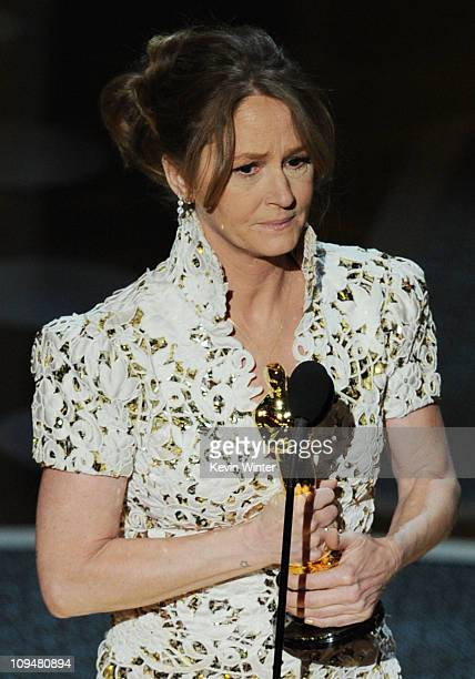 Actress Melissa Leo accepts the award for Actress in a Supporting Role for 'The Fighter' onstage during the 83rd Annual Academy Awards held at the...
