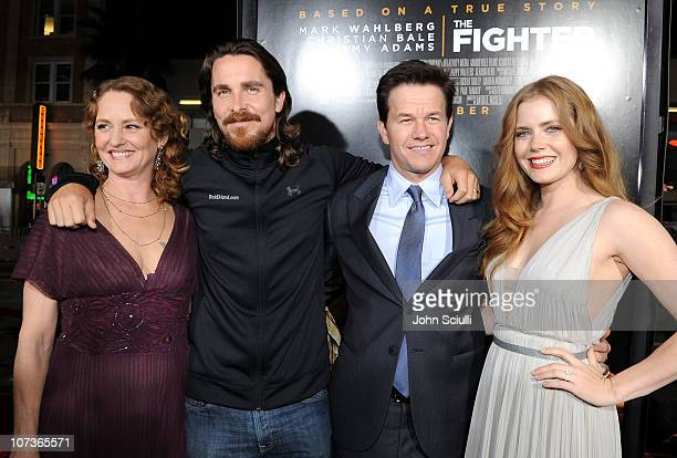 Actress Melissa Leo actor Christian Bale actor/producer Mark Wahlberg and actress Amy Adams arrive at Paramount Pictures' The Fighter premiere at...