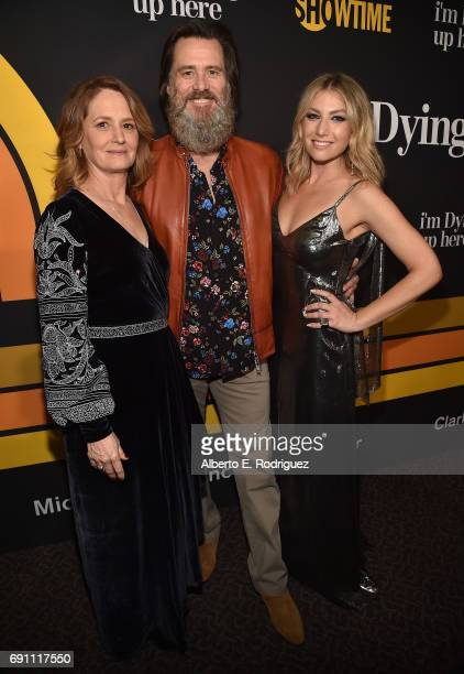 Actress Melissa Leo executive producer Jim Carrey and actress Ari Graynor attend the premiere of Showtime's I'm Dying Up Here at the DGA Theater on...