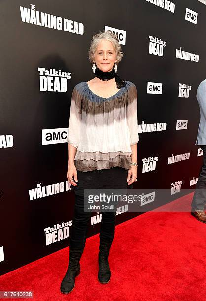 Actress Melissa McBride attends AMC presents 'Talking Dead Live' for the premiere of 'The Walking Dead' at Hollywood Forever on October 23 2016 in...