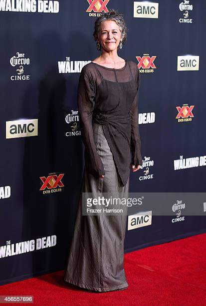 Actress Melissa McBride attends the season 5 premiere of 'The Walking Dead' at AMC Universal City Walk on October 2 2014 in Universal City California