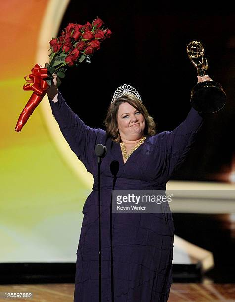 Actress Melissa McCarthy accepts the Outstanding Lead Actress in a Comedy Series award onstage during the 63rd Annual Primetime Emmy Awards held at...
