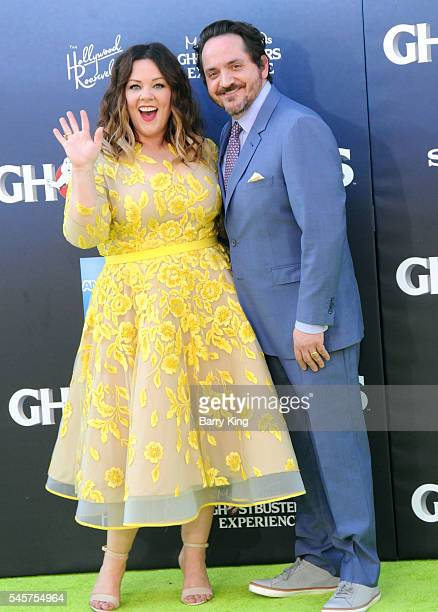 Actress Melissa McCarthy and actor Ben Falcone attend the premiere of Sony Pictures' 'Ghostbusters' at TCL Chinese Theatre on July 9, 2016 in...