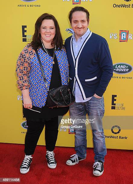 Actress Melissa McCarthy and Ben Falcone arrive at the PS ARTS Express Yourself 2014 at The Barker Hanger on November 16 2014 in Santa Monica...