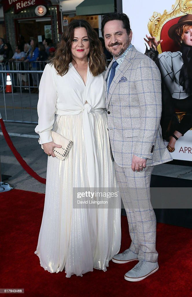 Actress Melissa McCarthy (L) and husband actor Ben Falcone attend the premiere of USA Pictures' 'The Boss' at the Regency Village Theatre on March 28, 2016 in Westwood, California.