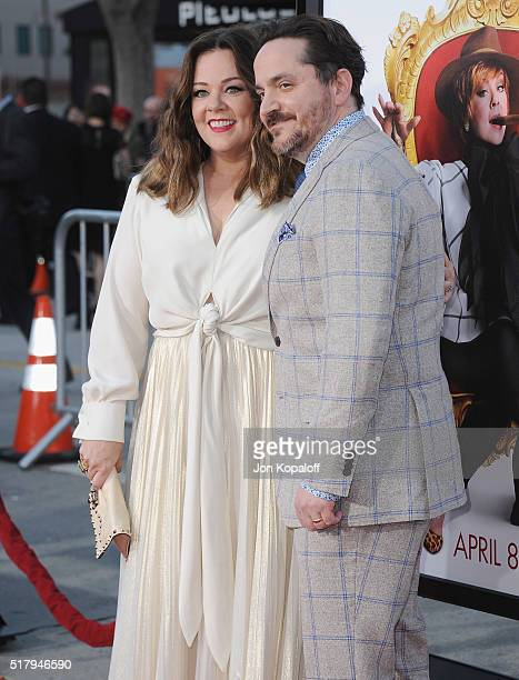 Actress Melissa McCarthy and husband Ben Falcone arrive at the Los Angeles Premiere The Boss at Regency Village Theatre on March 28 2016 in Westwood...