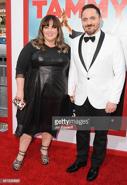 Actress Melissa McCarthy and husband director Ben Falcone arrive at the Los Angeles Premiere Tammy at TCL Chinese Theatre on June 30 2014 in...