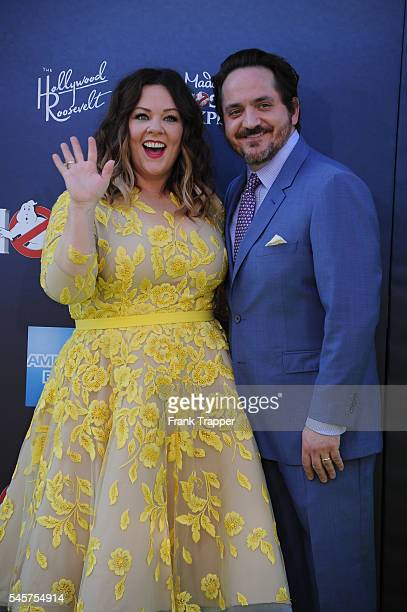 """Actress Melissa McCarthy and husband/actor Ben Falcone attend the premiere of Sony Pictures' """"Ghostbusters"""" held at TCL Chinese Theater on July 9,..."""