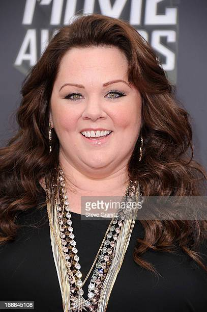 Actress Melissa McCarthy arrives at the 2013 MTV Movie Awards at Sony Pictures Studios on April 14 2013 in Culver City California