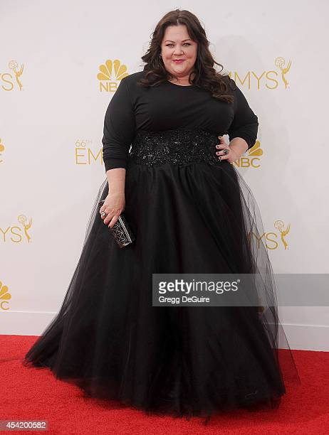 Actress Melissa McCarthy arrives at the 66th Annual Primetime Emmy Awards at Nokia Theatre LA Live on August 25 2014 in Los Angeles California