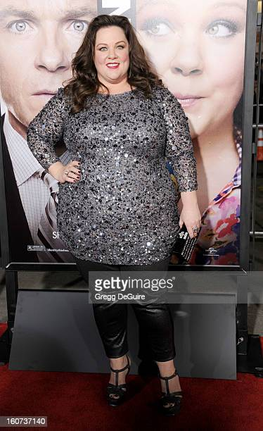 """Actress Melissa McCarthy arrives at the """"Identity Thief"""" Los Angeles premiere at Mann Village Theatre on February 4, 2013 in Westwood, California."""