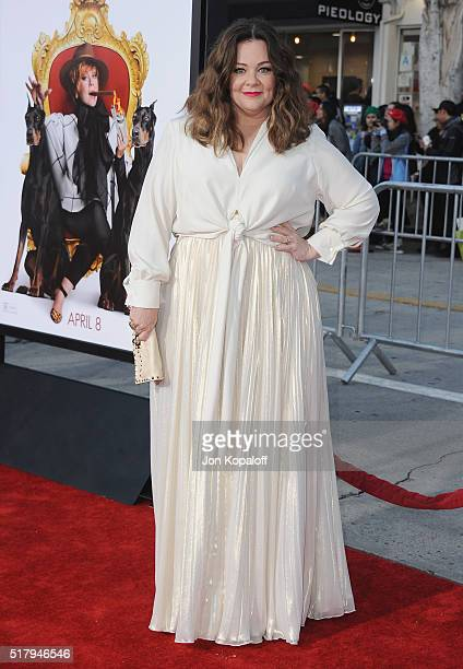 Actress Melissa McCarthy arrives at the Los Angeles Premiere The Boss at Regency Village Theatre on March 28 2016 in Westwood California