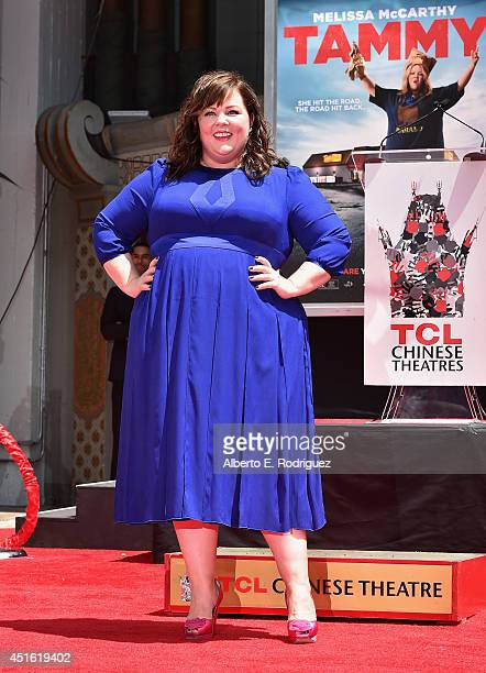 Actress Melissa McCarthy attends a ceremony immortalizing her with a hand and footprint at TCL Chinese Theatre on July 2 2014 in Hollywood California