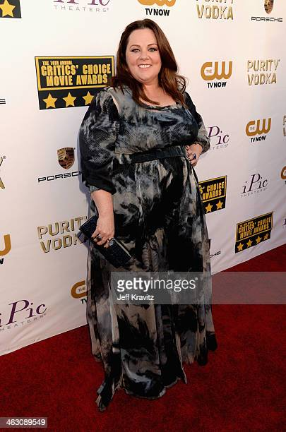 Actress Melissa McCarthy attends the 19th Annual Critics' Choice Movie Awards at Barker Hangar on January 16 2014 in Santa Monica California