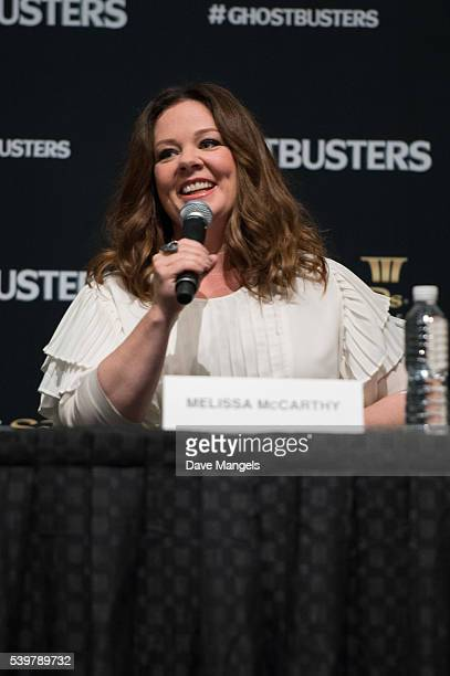 """Actress Melissa McCarthy speaks during the """"Ghostbusters"""" press conference held at the ArtScience Museum at Marina Bay Sands on June 13, 2016 in..."""