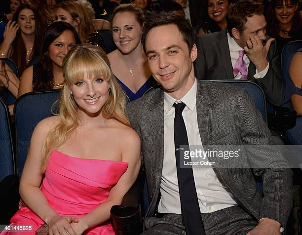 Actress Melissa Rauch and actor Jim Parsons attend The 40th Annual People's Choice Awards at Nokia Theatre LA Live on January 8 2014 in Los Angeles...