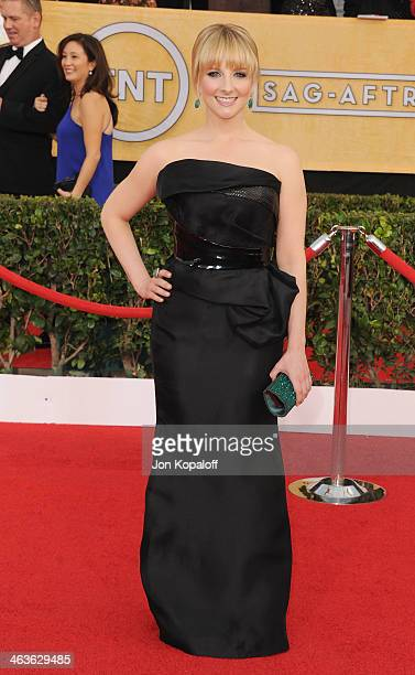 Actress Melissa Rauch arrives at the 20th Annual Screen Actors Guild Awards at The Shrine Auditorium on January 18 2014 in Los Angeles California