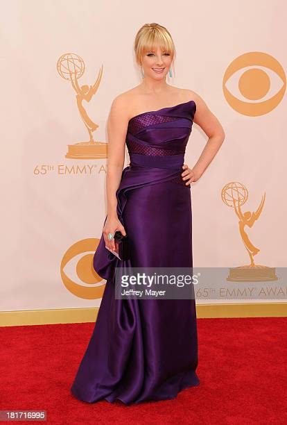 Actress Melissa Rauch arrives at the 65th Annual Primetime Emmy Awards at Nokia Theatre LA Live on September 22 2013 in Los Angeles California